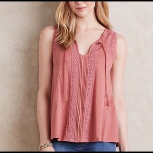 🆕 {Anthropologie} Meadow Rue Lace Top Rose XS